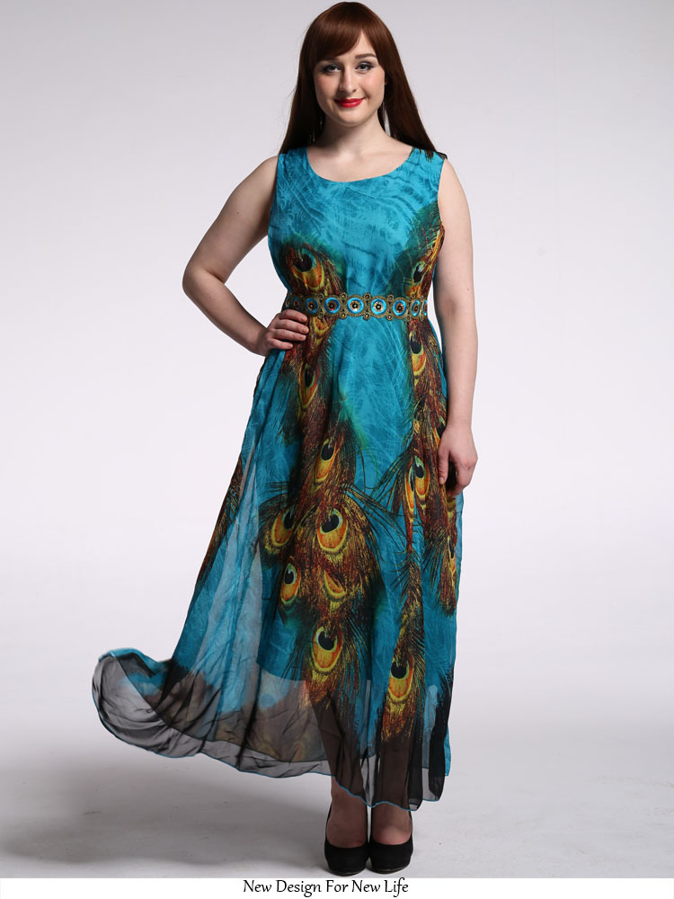 b61ecd34f6c59 Aliexpress.com : Buy Plus Size Women Maxi Dress Bohemian Peacock Print  Chiffon Big Size Spring Boho Dress 6XL Beach Dresses Swing High Waist E3027  from ...