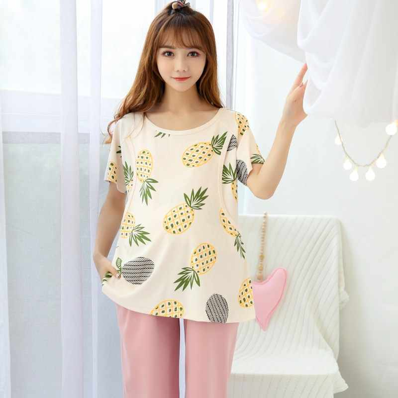 Month postpartum lactation female pregnant women pajamas Short sleeved cotton sleepwear set maternal feeding Home wear clothes
