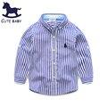 Мальчика детской одежды весна и осень рубашку с длинными рукавами хлопок полосатые футболки свободного покроя стиль одежды малышей высокое качество