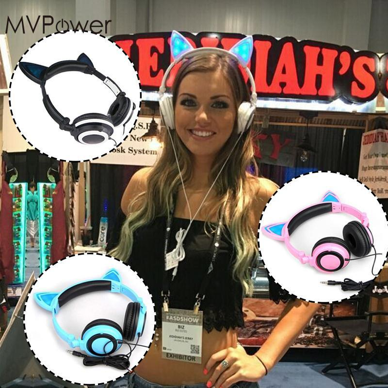 MVPower Cat Ears Headset Folding led Glowing flash light in dark drop gaming Headphones For Macaroons PC Laptop phone earphone new foldable flashing glowing headphones cat ear gaming headset earphone with led light for pc laptop computer mobile phone