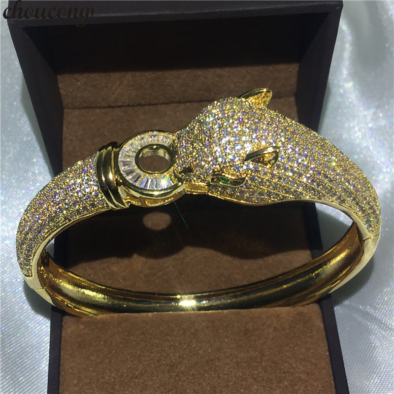 Jewelry & Accessories Choucong Leopard Style Bracelet 400pcs Aaaaa Cubic Zirconia Yellow Gold Filled Engagement Bangle For Women Wedding Accessaries Latest Technology Bangles