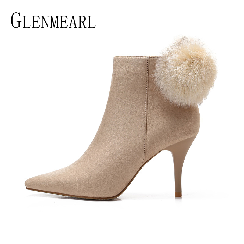 Women Boots Winter Shoes High Heels Pointed Toe Ankle Boot Woman Shoes Brand Plush Warm Botas Mujer Zipper Plus Size New Arrival shofoo women winter snow brown round toe high heels ankle boots shoes for woman zapatos botas mujer plus size 5 16