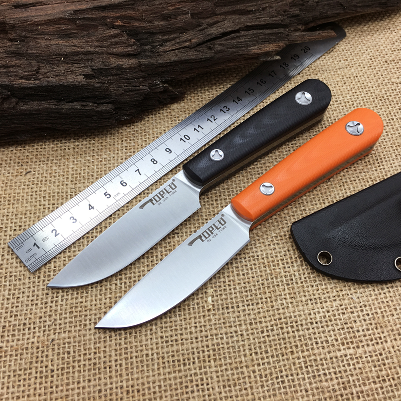 Toplu Small Hunting Fixed Blade font b Knife b font D2 G10 Handle font b Tactical