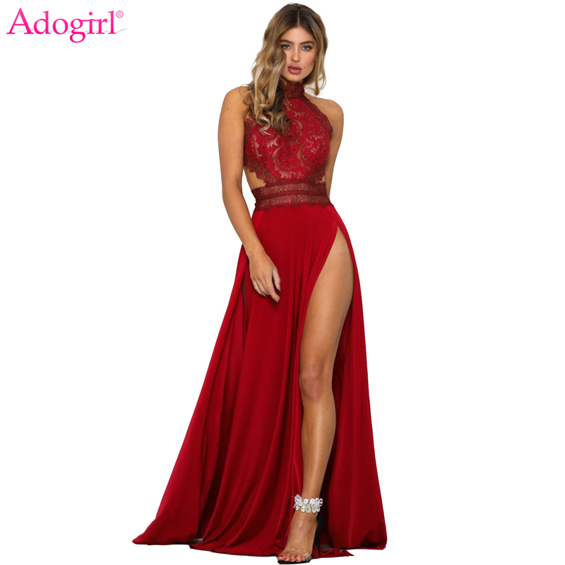 Adogirl Women Sexy Sheer Lace High Slit Maxi Evening Party Dresses Backless Summer Beach Dress Female Night Club Long Vestidos