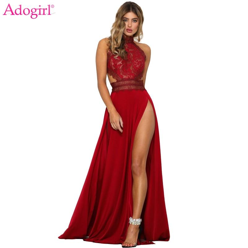 Adogirl femmes Sexy pure dentelle haute fente Maxi soirée robes dos nu été plage robe femme nuit Club longs Vestidos