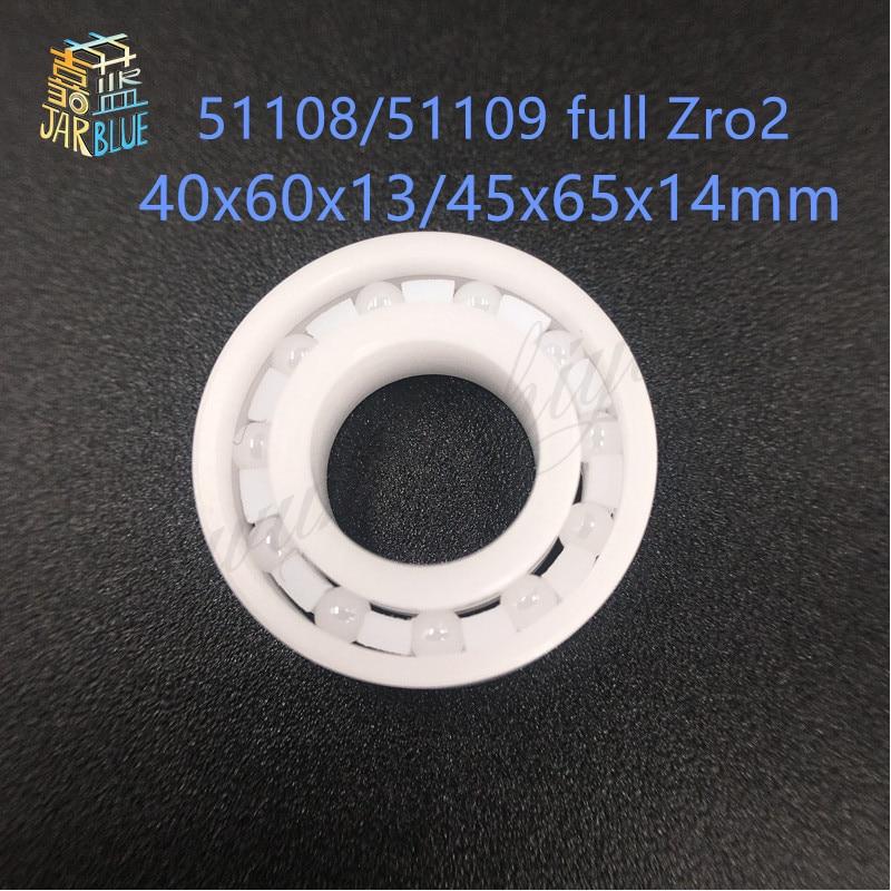 1pcs Free shipping 51108 51109 ZrO2 full ceramic thrust ball bearing 40x60x13 45x65x14mm free shipping 697 619 7 7x17x5 mm full zro2 ceramic ball bearing