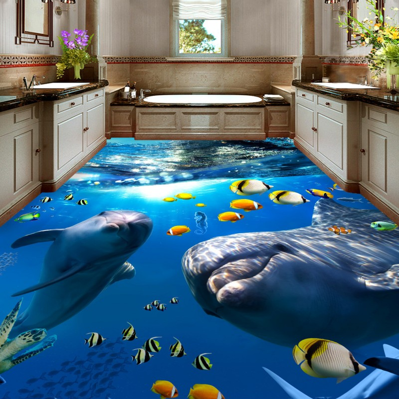 Free Shipping Cute dolphin bathroom bedroom office flooring sticker living room self-adhesive wear floor wallpaper mural 3d floor mural photo wallpaper customize wallpapers for living room floor 3d self adhesive wallpaper dolphin vinyl flooring