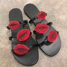 Summer Shoes Crystal Lips Three-Band Flats Slide Gladiator Sandals Women Shoes Fashion Slipper Slinky Patent Leather Mules(China)