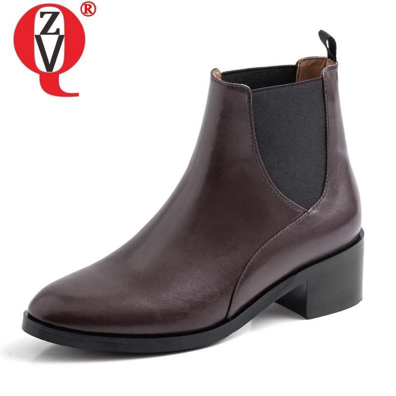 ZVQ vrouw schoenen 2019 herfst winter nieuwe beknopte casual echt leer enkellaars buiten comfortabele mid hakken dames schoenen