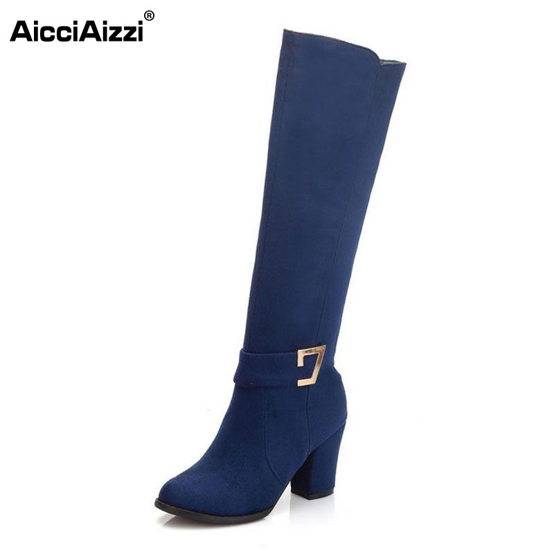 size 32 48 women square high heel over knee boot winter warm fashion british boots knight