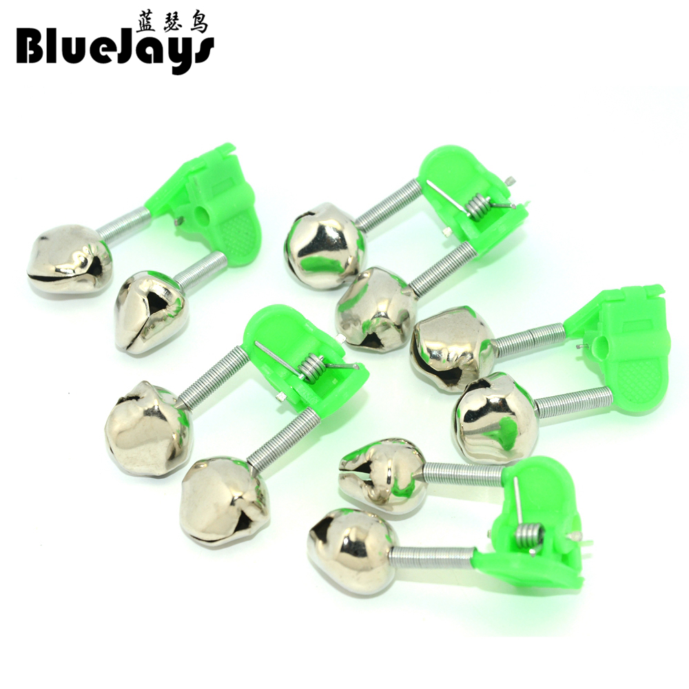 BLUEJAYS 5 Pcs/lot Bite Alarms Fishing Rod Bells Fishing Accessory Rod Clamp Tip Clip Bells Ring Green ABS Outdoor Metal