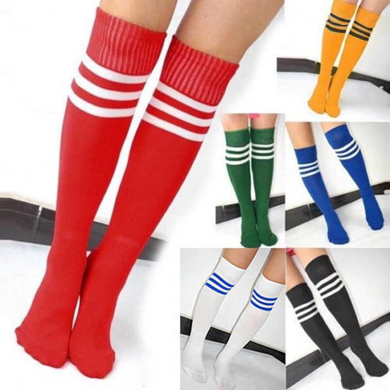 0262289c2 Knee High Socks For women Girls Football Stripes Cotton Sports Old School  White Socks Skate girls
