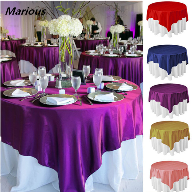 Superieur Plain 140*140cm Popular Fancy Wedding Cheap Silk Satin Table Overlay FREE  SHIPPING