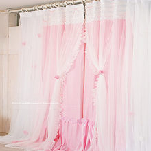 Romantic Princess lace curtains for living room bedroom 2 layers sweet cotton cloth with yarn curtain wedding decoration cortina
