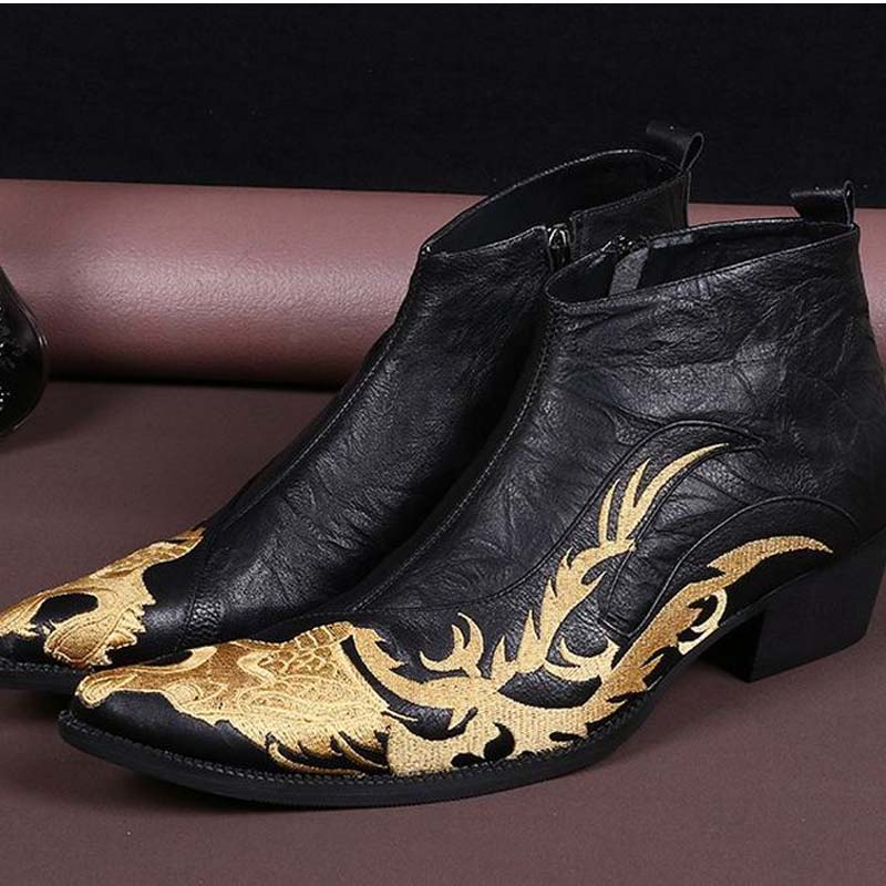 luxury embroidery men shoes genuine leather business casual shoe fashion party wedding booties pointed toe high heel martin boot 37 46 animal prints leopard genuine leather business shoes fashion brand design elevator wedding shoe for men nightclub wear
