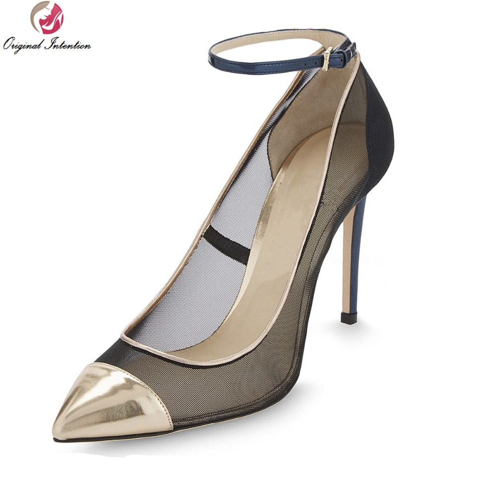Original Intention Sexy Women Pumps Stylish Pointed Toe Thin Heels Pumps High-quality Black Shoes Woman Plus US Size 3.5-10.5