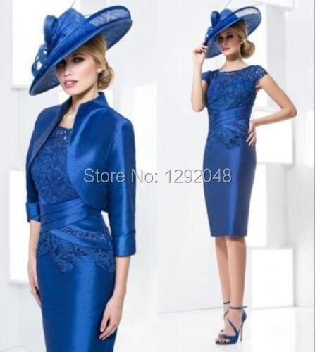 YNQNFS MD11 Taffeta 2 Piece Vintage Elegant 2019 Royal Blue Mother Of The Bride/Groom Dresses Outfits With Jacket/Bolero Custom