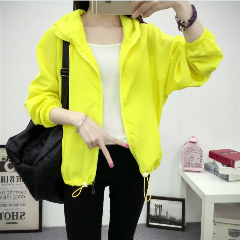2019 Hooded   Jackets   Women Smiley Print New Women's   Basic     Jacket   Fashion Windbreaker High Quality Outwear Female Coat