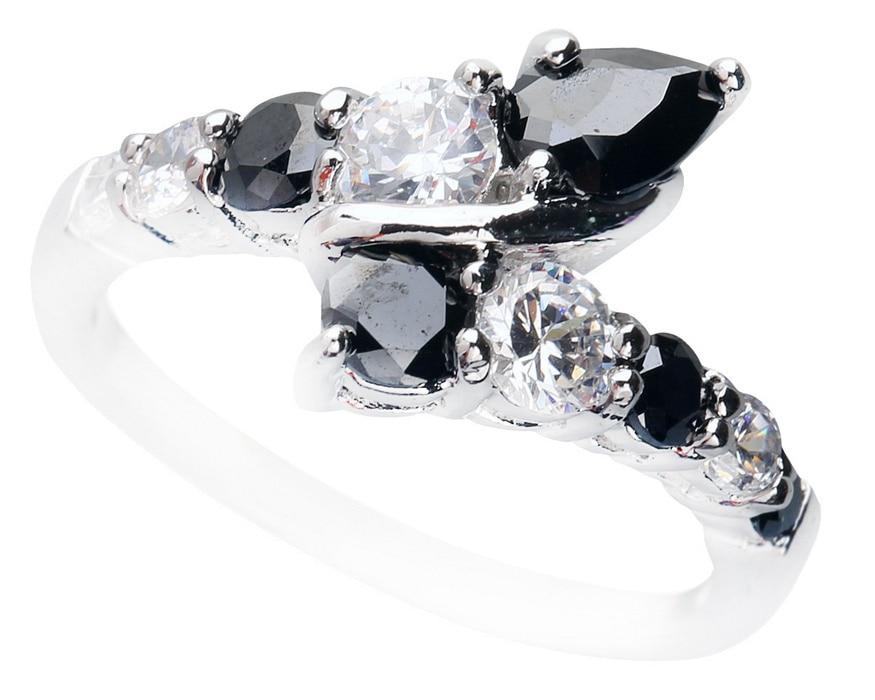 Luxurious Black Sapphire 4 6mm Semi Precious Stone Silver Cool For Women Ring Q1119