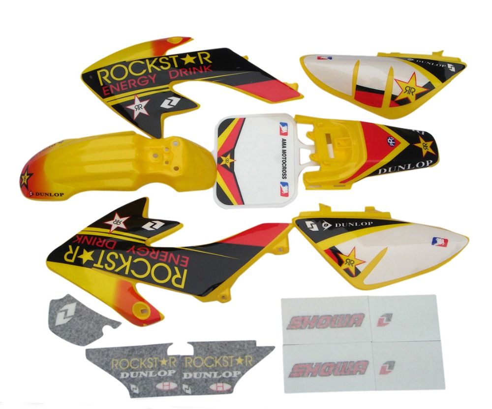 Plastic Fairing Kit Body Frames & Sticker Decal For Honda CRF50 CRF50F 2004 - 2012 2005 2006 2008 2009 2010 2011 CRF 50 50F for honda crf 250r 450r 2004 2006 crf 250x 450x 2004 2015 red motorcycle dirt bike off road cnc pivot brake clutch lever