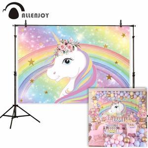 Image 2 - Allenjoy Baby Shower photophone backdrop rainbow unicorn sky children 1st birthday party photo background photocall photo studio