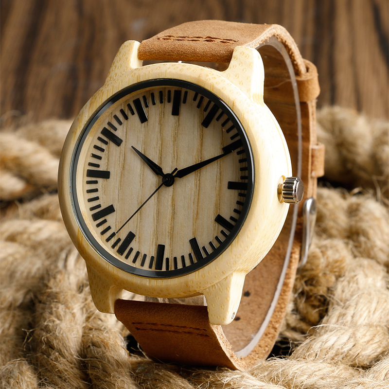 Nature Wood Handmade Men Wrist Watch Bamboo Analog Casual Women Men Genuine Leather Band relojes de madera fashion nature wood quartz wrist watch genuine leather band bamboo pattern strap men women analog green light grey gift
