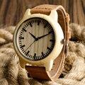 Natureza Relógio de Pulso Dos Homens de Bambu de Madeira Feitos À Mão Analógico Casual Homens Pulseira de Couro Genuíno Das Mulheres relojes de madera