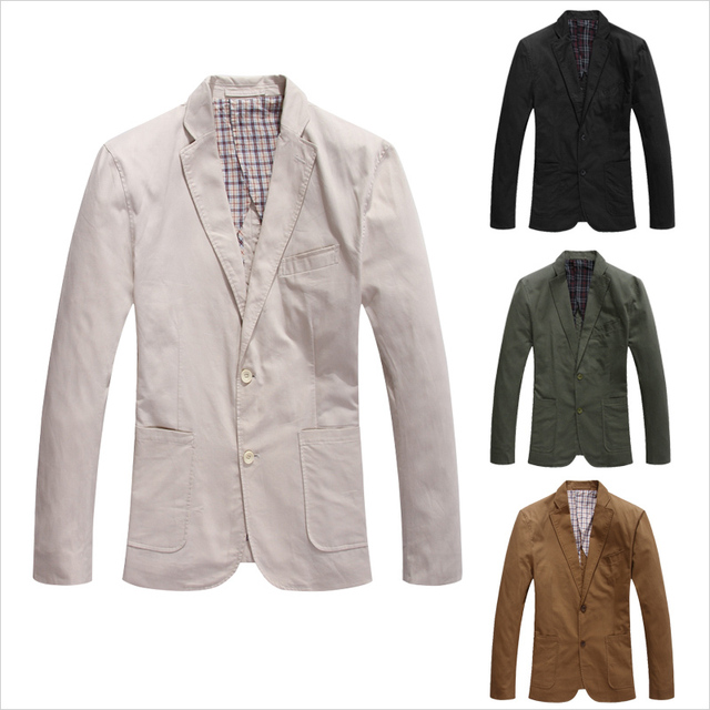 Casual Blazer 2016 New Blazer Masculino Slim Fit Cotton Stylish Mens Blazer Jacket Cotton Two Button Business Dress Suit SU199