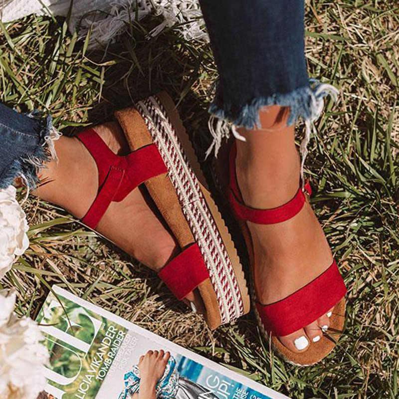 Vrouwen Sandalen 2019 Nieuwe Platform Sandalen Met 4 CM Wiggen Chaussures Femme Plus Size 43 Casual Zomer Schoenen Vrouwen Hakken sandalen