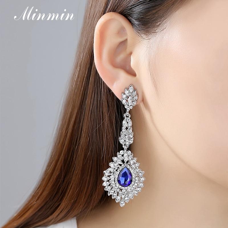 Minmin Mewah Teardrop Crystal Long Drop Earrings Perak Warna - Perhiasan fesyen - Foto 3