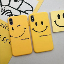 Matte Special Phone Case For iPhone X 6s Plus 7 8 Plus Cute Yellow Sky Big Smile Blink Pattern Back Full Cover Capa Fundas Coque stylish maya pattern carbonized bamboo back case for iphone 5c yellow brown