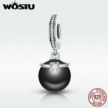 WOSTU HOT Sale 925 Sterling Silver & Black Pearl With CZ Ring Dangle Charm fit Original wst Beads Bracelet Jewelry DXC572 цена и фото
