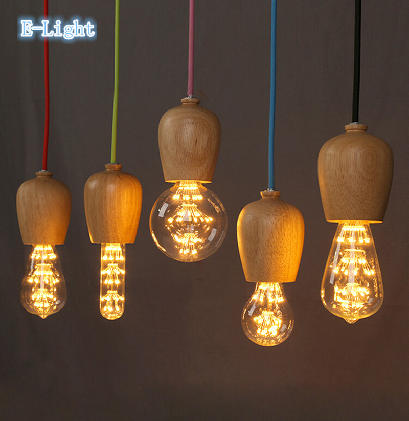 L SIZE Vintage Pendant Light Oak Wood Lamp 1M Color Wire E27/E26 ...