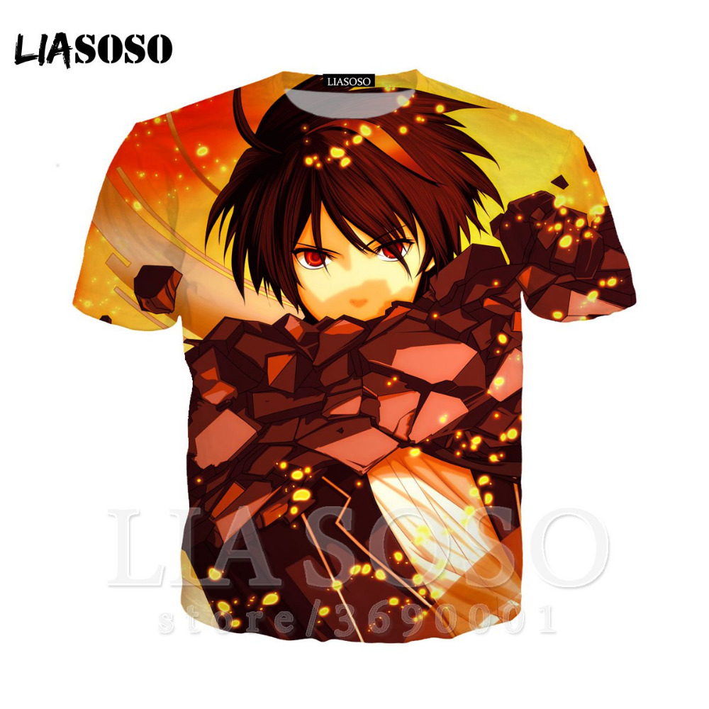 LIASOSO 3D Print Women Men Anime <font><b>Guilty</b></font> <font><b>Crown</b></font> OUMA SHU YUZURIHA INORI <font><b>Tshirt</b></font> Summer T-shirt High quality short Sleeve TopsX1331 image