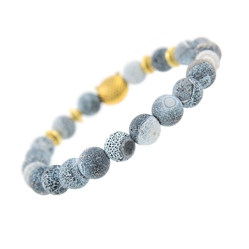 Back Of Bracelet: Natural Black And White Stone Bracelet With Gold Owl
