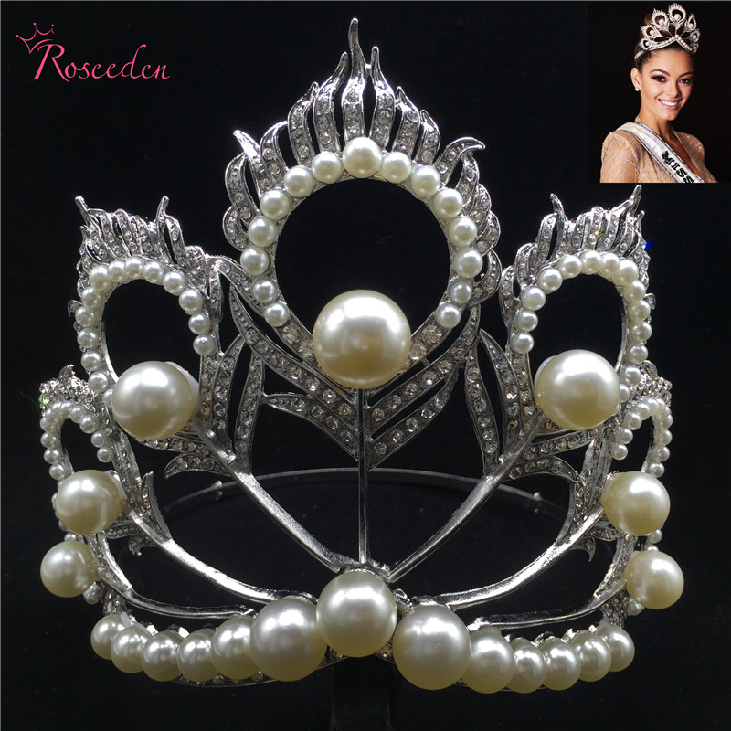 2017 Miss Universe Crown Full Round Adjustable Pearl Peakcock Feather Tiara Pageant RE 484B2017 Miss Universe Crown Full Round Adjustable Pearl Peakcock Feather Tiara Pageant RE 484B