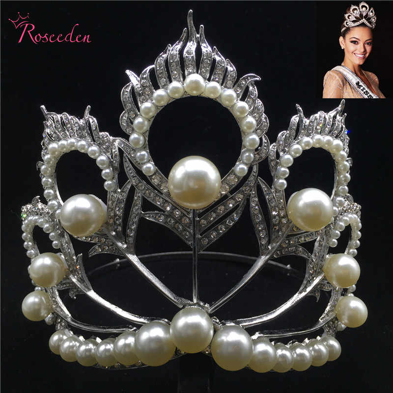 2017 Miss Universe Crown Full Round Adjustable Pearl Peakcock Feather Tiara  Pageant RE 484B 766ddd050877