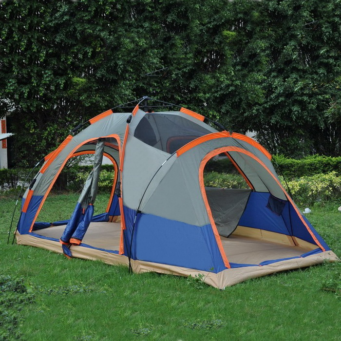 цена на Alltel 5-8 people camping tent waterproof sunscreen two rooms four seasons double layers automatic tent A-063