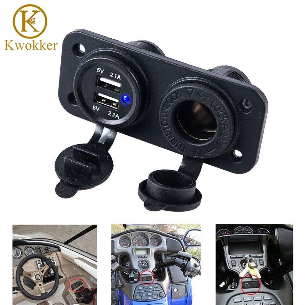 3.1A/4.2A 12 v Auto Boot Motorrad Zigarette Leichter Auto Ladegerät Sockel Dual USB Traktor Adapter Ladegerät + Digital voltmeter