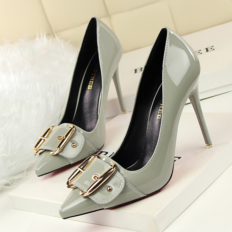 2019 New Elegant Metal Belt Buckle <font><b>Women's</b></font> Office Shoes Fashion Patent Leather <font><b>Women</b></font> Pumps Pointed Toe High <font><b>Heels</b></font> Shoes Shallow image