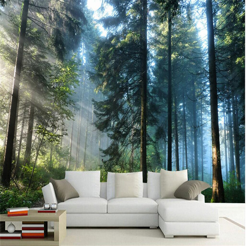 Beibehang custom painting living room natural forest wall - How to paint murals on bedroom walls ...