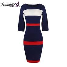 Fantaist Women Summer Voguish Colorblock Stripe Elegant Party Casual Wear To Work Stretch Bodycon Slim Office Midi Pencil Dress