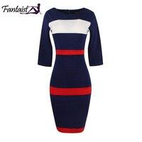 Fantaist Women Summer Voguish Colorblock Stripe Elegant Party Casual Wear To Work Stretch Bodycon Slim Office