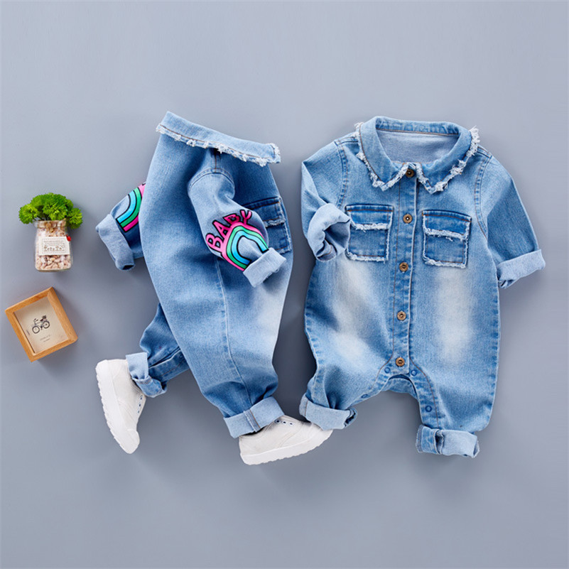MBBGJOY Baby Romper Long Sleeves Denim Baby Pajamas Cartoon Newborn Girls Boys Jeans Clothes Infant Baby One-pieces Jumpsuit mother nest baby romper 100% cotton long sleeves baby gilrs pajamas cartoon printed newborn baby boys clothes infant jumpsuit