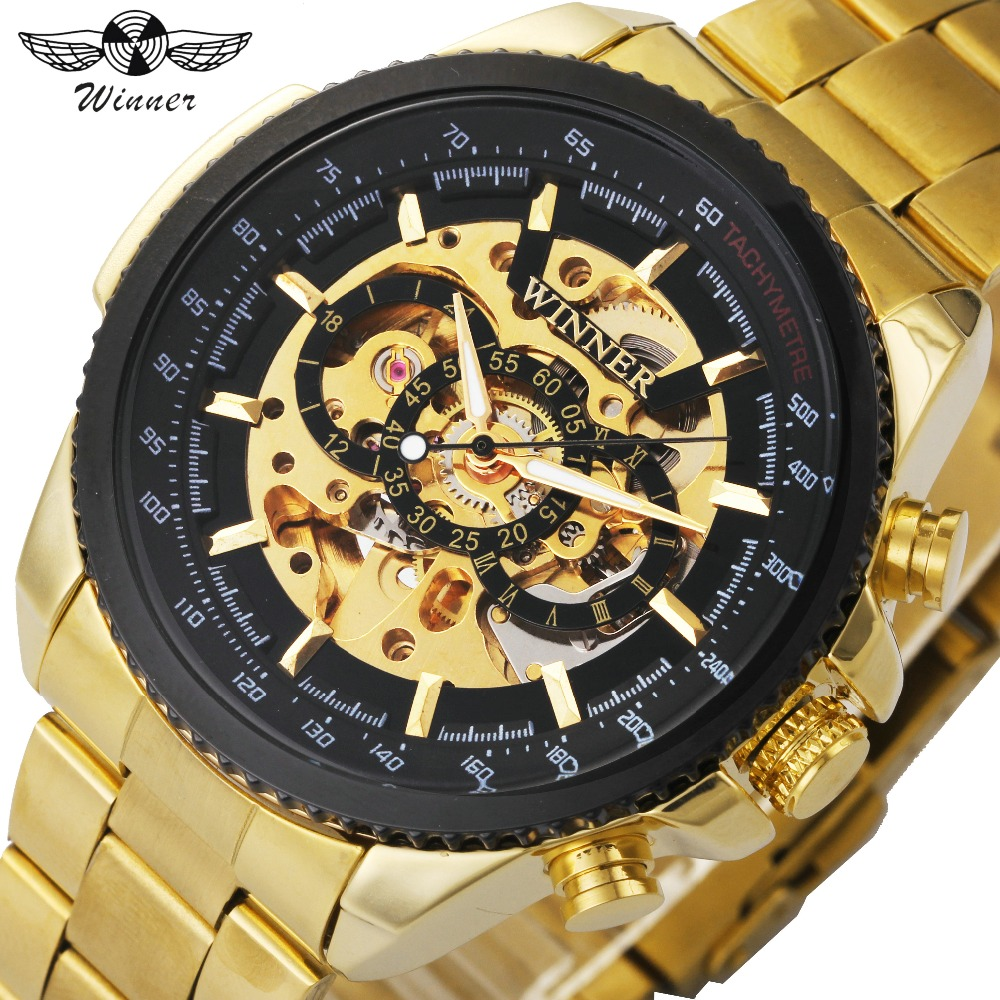 WINNER Top Brand Luxury Men Auto Mechanical Watch Stainless Steel Strap Skeleton Dial FORSINING Male Wristwatch New Year Gift winner men fashion black auto mechanical watch leather strap skeleton dial square shape round case unique design cool wristwatch
