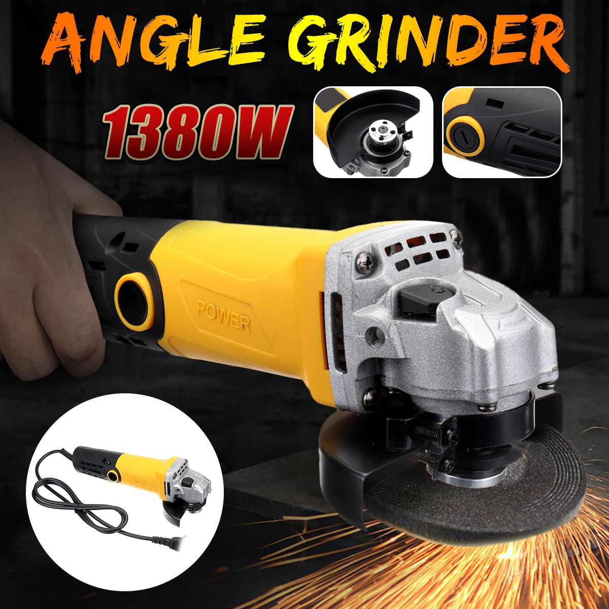 220V/50Hz 1380W 11000r/min Portable Electric Angle Grinder Muti-Function Household Polish Machine220V/50Hz 1380W 11000r/min Portable Electric Angle Grinder Muti-Function Household Polish Machine