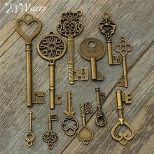 KiWarm gran oferta 12 Uds surtido antiguo aspecto antiguo grandes llaves de esqueleto colgantes de bronce COLLAR COLGANTE decoración DIY