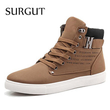 SURGUT Men Shoes 2017 Top Fashion New Winter Front Lace-Up Casual Ankle Boots Autumn Shoes Men Wedge Fur Warm Leather Footwear