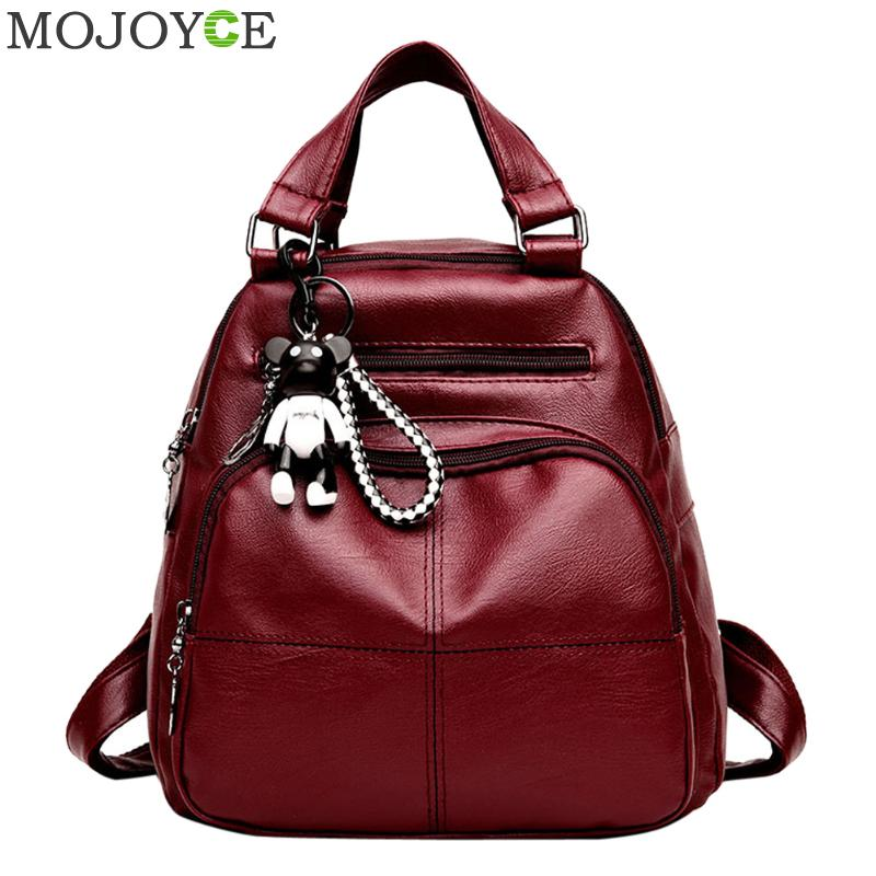 PU Leather Backpacks Women Travel Backpack Fashion School Bags for Teenage Girl Shoulder Bags Female Mochilas Rucksack Backpack doodoo fashion streaks women casual bear backpacks pu leather school bag for girl travel bags mochilas feminina d532