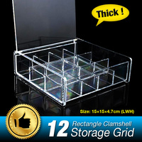 12 Grids Jewelry Box Earrings Organizer Storage Holder Ring Display Box Square Clear Acrylic Clamshell Holder